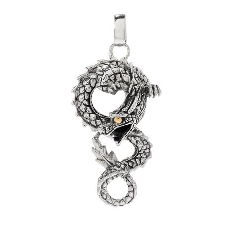 Sterling Silver + 18K Gold Dragon Pendant