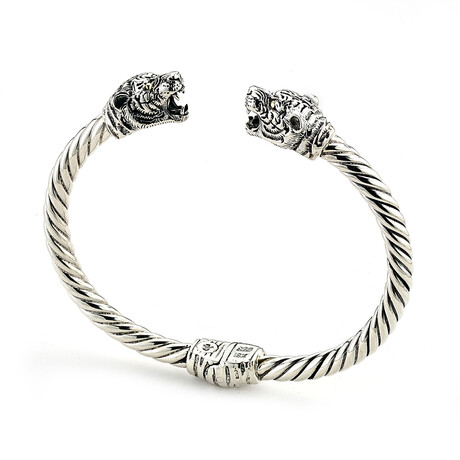 Sterling Silver + 18k Gold Twisted Cable Bangle Panther End Caps