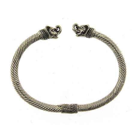 Sterling Silver Twisted Cable Bangle + Elephant Endcaps