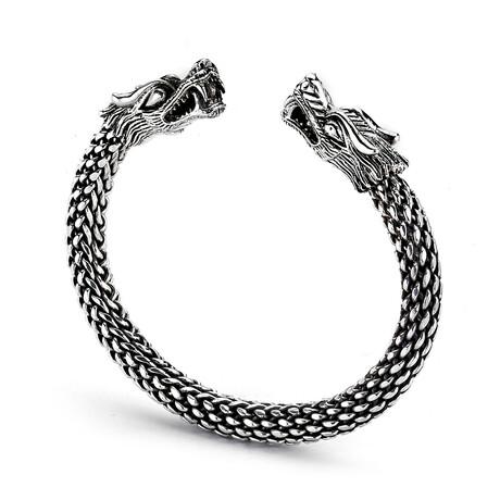 Sterling Silver Woven Design Dragon Bangle