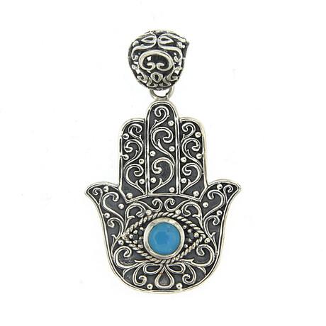 Sterling Silver Hamsa Pendant + Sleeping Beauty Turquoise + Diamond