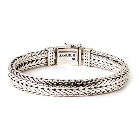 Sterling Silver Woven Dot Design Men's Bracelet