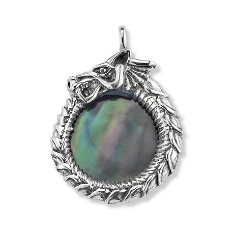 Sterling Silver Black Shell Dragon Pendant