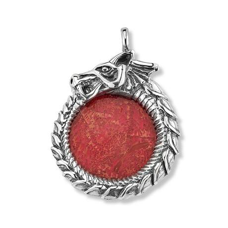Sterling Silver Coral Dragon Pendant