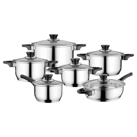 Essentials Gourmet // 12-Piece // Stainless Steel Cookware Set // Black Handles