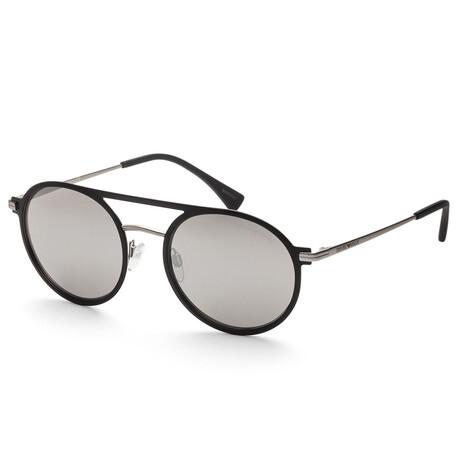 Emporio Armani // Men's EA2080-30016G53 Sunglasses // Black + Light Gray Silver Mirror