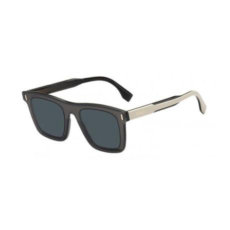 Men's Square Sunglasses // Gray + Beige + Blue