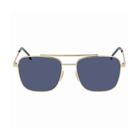Men's Double Bridge Square Sunglasses // Rose Gold + Blue