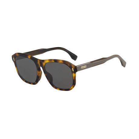 Men's Square Sunglasses // Havana Brown + Gray Blue