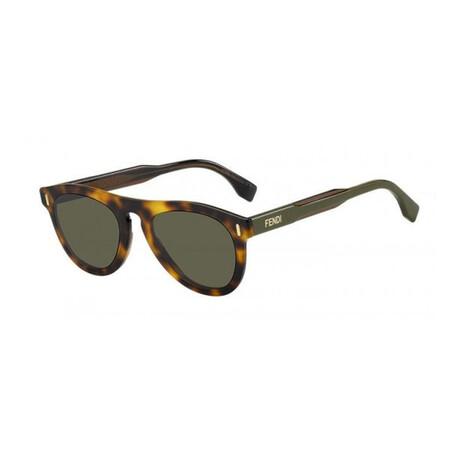 Men's Round Sunglasses // Havana Brown + Green