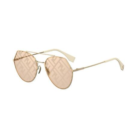 Women's Pilot Sunglasses // Gold + Beige + Pink