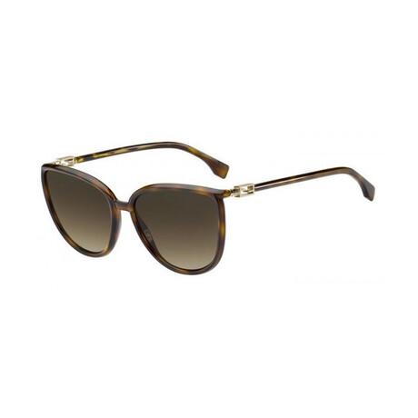 Women's Cat Eye Sunglasses // Dark Havana + Brown
