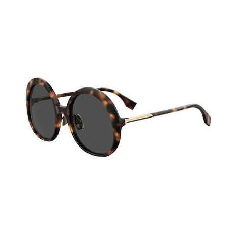 Women's Round Sunglasses // Havana Brown + Gray Blue