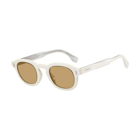 Men's Round Sunglasses // Ivory + Brown
