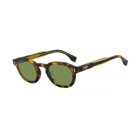 Men's Round Sunglasses // Havana + Green