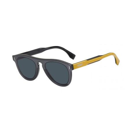 Men's Round Sunglasses // Gray + Blue