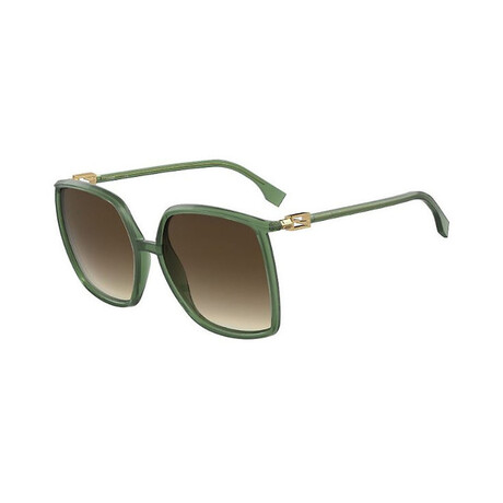 Women's Square Sunglasses // Green + Brown