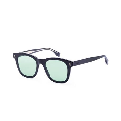 Men's Square Sunglasses // Black + Green