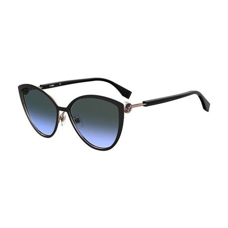 Women's Cat Eye Sunglasses // Black + Gold + Gradient Gray Blue