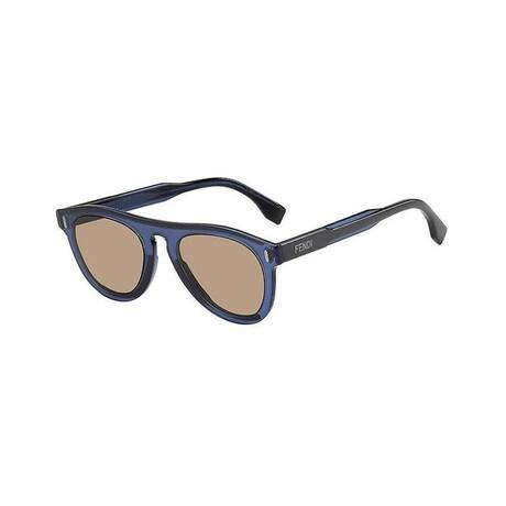 Men's Round Sunglasses // Blue Gray + Brown
