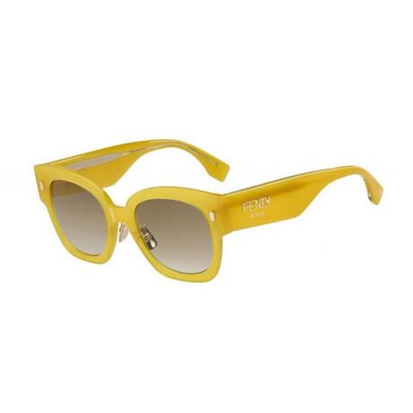 Women's Cat Eye Sunglasses // Yellow + Brown