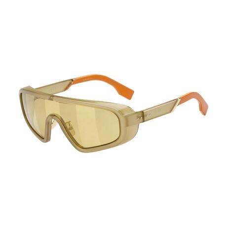 Men's Shield Sunglasses // Green + Gold