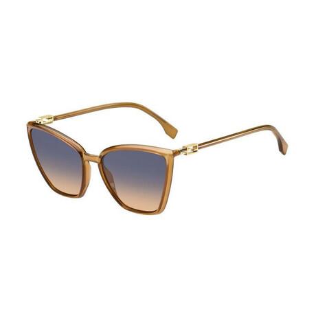 Women's Cat Eye Sunglasses // Orange + Blue + Brown Gradient