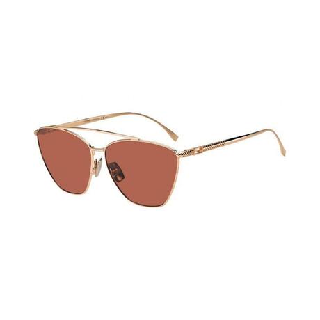 Women's Cat Eye Sunglasses // Gold Copper + Burgundy