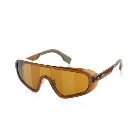 Men's Shield Sunglasses // Brown + Gold