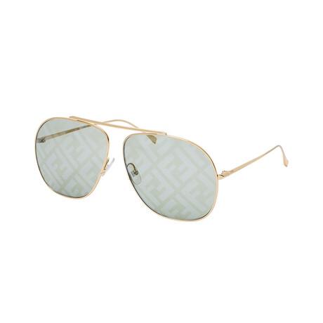 Unisex Square Sunglasses // Gold + Green