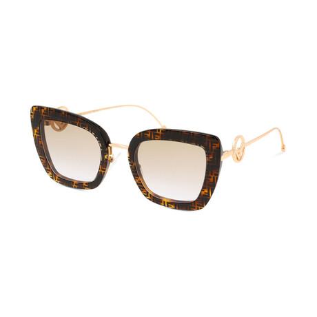 Women's Cat Eye Sunglasses // Havana + Gold + Smoke Gradient