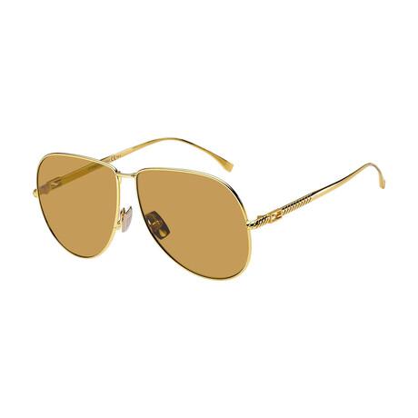 Women's Aviator Sunglasses // Yellow Gold + Brown