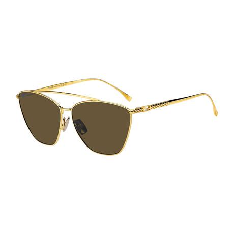 Women's Cat Eye Sunglasses // Yellow Gold + Green