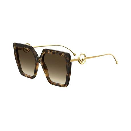 Women's Square Sunglasses // Havana + Gold + Brown