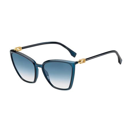 Women's Cat Eye Sunglasses // Blue + Dark Blue