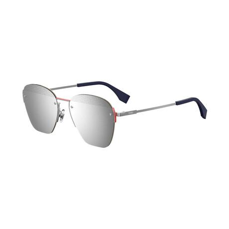 Men's Square Sunglasses // Palladium + Silver Mirror