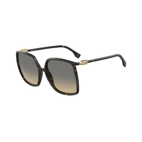 Women's Square Sunglasses // Dark Havana + Brown Gradient