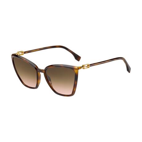 Women's Cat Eye Sunglasses // Havana + Brown + Pink