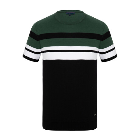 Connor Knitwear T-Shirt // Black + Green (XS)