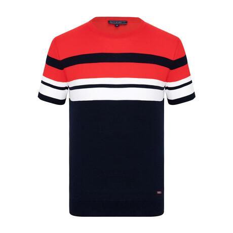 Nick Knitwear T-Shirt // Navy + Red (XS)