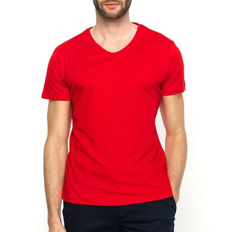 Frank V-Neck T-Shirt // Red (XS)