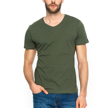 Zane V-Neck T-Shirt // Khaki Green (XS)