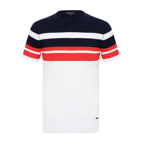 Christian Knitwear T-Shirt // White + Navy (XS)