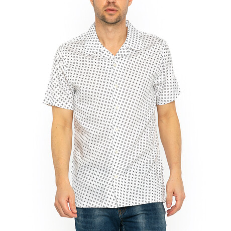 Dominic Short Sleeve // White + Brown (XS)