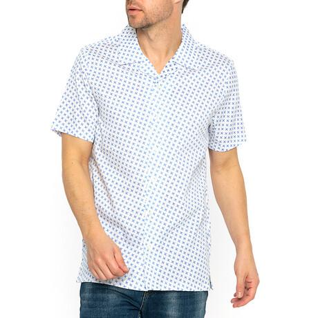 Harry Short Sleeve // White + Blue (XS)