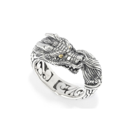 Sterling Silver + 18K Gold Bypass Dragon Ring (8)