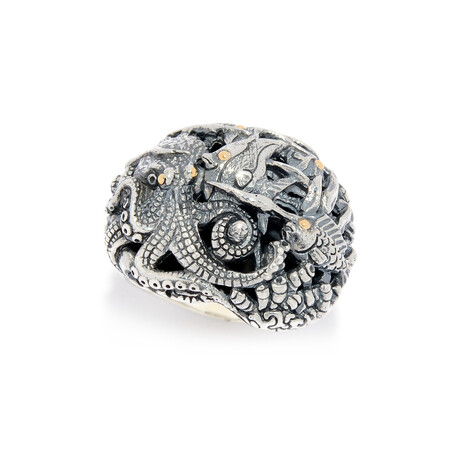 Sterling Silver + 18K Gold Sea Life Creature Ring (8)