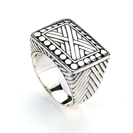 Sterling Silver Criss Cross + Beaded Border Design Square Ring (8)