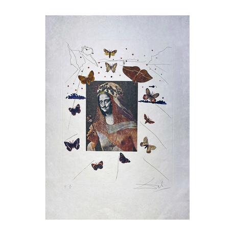 Salvador Dali // Surrealist Portrait of DALI Surrounded by Butterflies (Portait Surréaliste de DALI entouré de papillons) // 1971