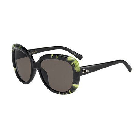 Women's DIORTIEDYE1 Sunglasses // Black + Green + Gray